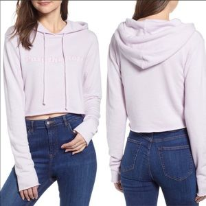 Wildfox Pase the Rose Cropped Hoodie Lavender Lrg